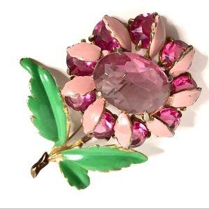 Vintage Flower Brooch Pink Glass Enamel Floral Pin
